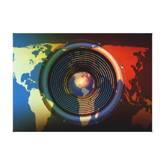 Speaker on a world map canvas prints