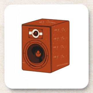 Speaker Single Grunged Graphic Red Brown Coaster