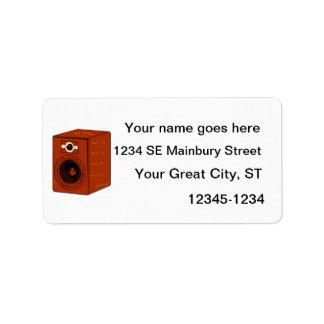 Speaker Single Grunged Graphic Red Brown Address Label