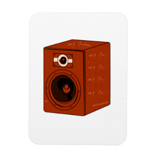 Speaker Single Grunged Graphic Red Brown Rectangle Magnets