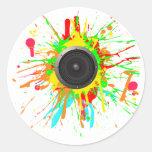 Speaker Splatter - DJ Music Disc Jockey Audio Round Sticker
