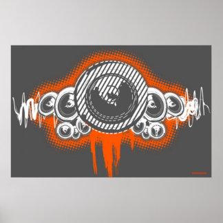 Speaker Waves Music Poster DJ Disc Jockey graffiti