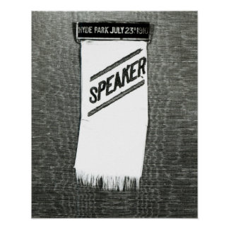 Speaker's badge for the Suffragette meeting Poster