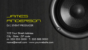 Music production business cards zazzle speakers dj music event production business cards colourmoves