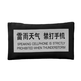 Speaking Cellphone Prohibited, Chinese Sign Makeup Bag