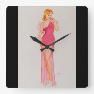 Speaking of Figures Pin Up Art Square Wall Clock