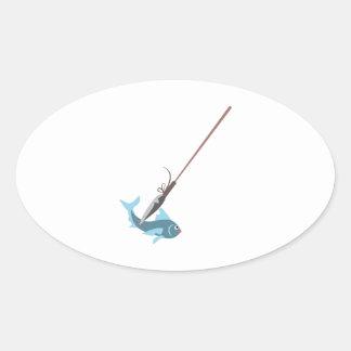 Spear Fishing Oval Sticker