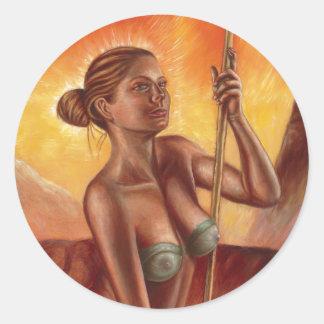 Spear Woman Classic Round Sticker