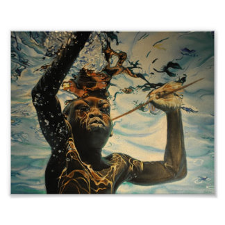 """Spearfishing Boy of Mozambique Poster 8 x 6.40"""""""