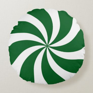 Christmas Themed Spearmint Candy Swirl Green and White Round Pillow
