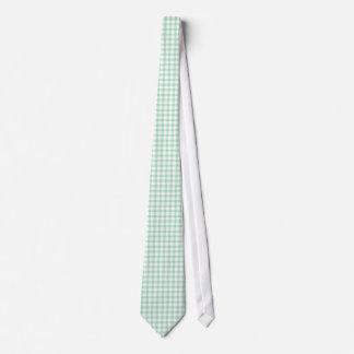Spearmint Green Gingham Pattern Neckties For Men