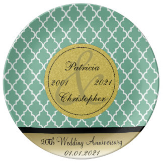 Spearmint Green Moroccan 20th Wedding Anniversary Plate
