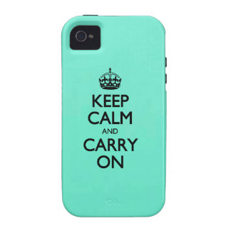 Spearmint Keep Calm And Carry On Mint Green iPhone 4 Cover