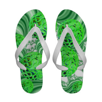 Spearmint Swirl, Abstract Green Lime Pattern Sandals