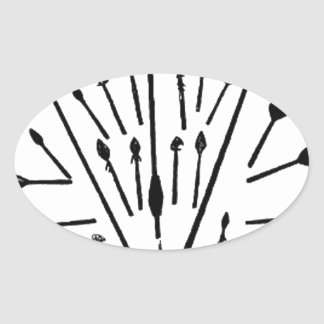Spears and Arrows Oval Sticker