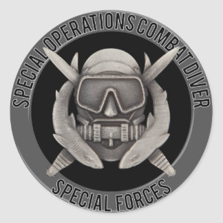 Spec Ops Diver Classic Round Sticker