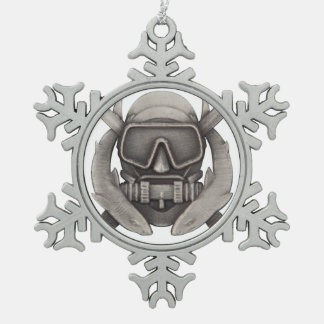 Spec Ops Diver Snowflake Pewter Christmas Ornament