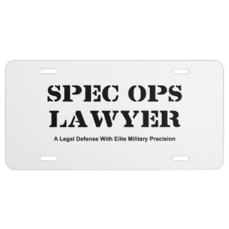 Spec Ops Lawyer - Defense License Plate