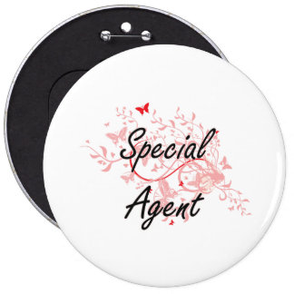 Special Agent Artistic Job Design with Butterflies Button