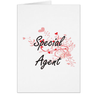 Special Agent Artistic Job Design with Hearts Greeting Card