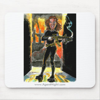 Special Agent Kathrin Night Caricature Mousepad