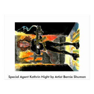 Special Agent Kathrin Night Caricature Postcard!