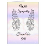 Special angel wings with sympathy card from us all