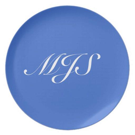 Special azul de la placa (añada sus iniciales!) plato