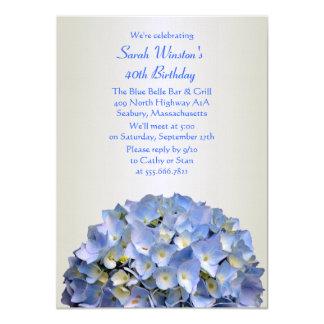 Special Birthday Party Blue Hydrangea Invitation