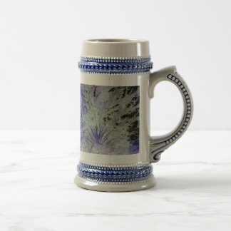 Special blue and white beautiful flowers 18 oz beer stein