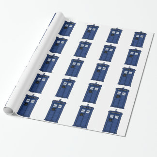 Special Call POLICE Box Blue geek SciFi Wrapping Paper