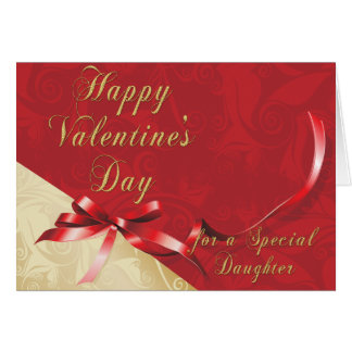 Special Daughter Gold and Red Filigree Heart Valen Greeting Card