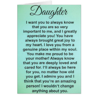 Special Daughter. I Love & Appreciate You! Card