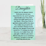 "Special Daughter Love And Appreciation Messages Card<br><div class=""desc"">This greeting card is for a VERY special daughter. A daughter who has a special bond with her mother and/or father. This greeting card can be from mom or dad. If you're looking for a card with heartfelt words, this is it! This heartwarming greeting is perfect for any occasion: Birthday,...</div>"