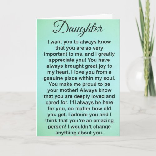 Special Daughter Love And Appreciation Messages Card