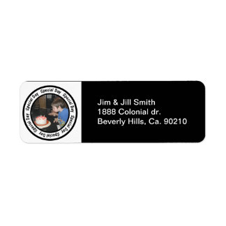 Special Day Frame Circle Add Your Photo Return Address Label
