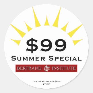Special del verano para el instituto de Bertrand Pegatina Redonda