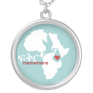 Special Delivery - Amharic Adoption - blue Personalized Necklace