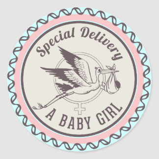 Special Delivery Baby Girl New Born Sticker