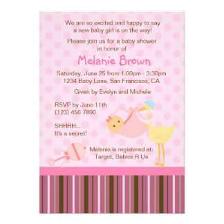 Special Delivery Baby Shower Invite Baby Girl