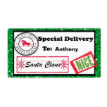 """Special Delivery Christmas Package Label<br><div class=""""desc"""">Personalize your Christmas gifts and packages with these adorable gift tags. There's a green glitter border with a white center. On the left corner there's a North Pole stamp. Along the bottom is the signature of Santa Claus with a stamp """"Nice"""" next to it. You add the recipients name and...</div>"""