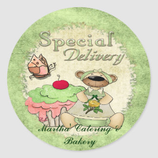 Special Delivery Cupcake Bear BAKERY CATERING Round Sticker