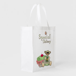 Special Delivery Cupcake Bear Grocery Bag