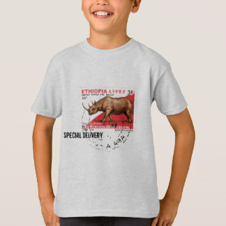 Special Delivery - Ethiopian Black Rhino Stamp T-Shirt