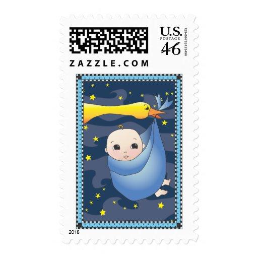 Special Delivery Folk Art Baby Boy & Stork - Blue Stamp
