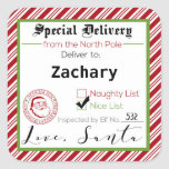 """Special Delivery from Santa Gift Tag Stickers<br><div class=""""desc"""">It's a sticker from Santa himself. Personalized with your child's name and stamped with Santa's seal of approval,  your kids will love seeing what elf it was inspected by,  they made the nice list,  and it's signed by Santa himself.</div>"""