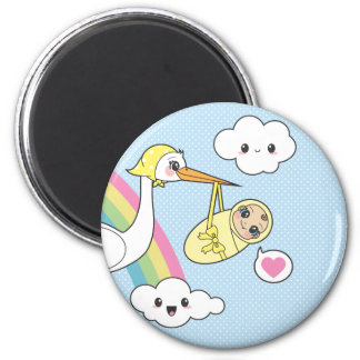 Special Delivery - Stork & Baby 2 Inch Round Magnet