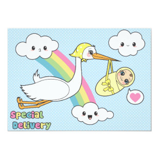 Special Delivery - Stork & Baby Card