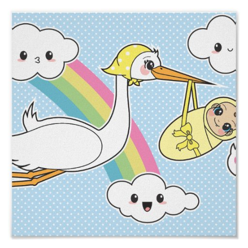 Special Delivery - Stork & Baby Poster