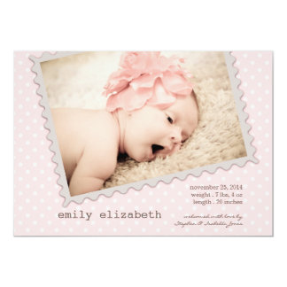 Special Delivery Sweet Baby Girl Photo Birth 5x7 Paper Invitation Card